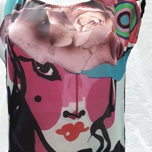 Desigual Tops - DESIGUAL mulitcolored printed top blouse sz S